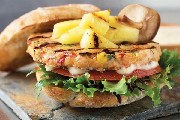 Alaskan Salmon Burger Jane's Cafe Mission Valley